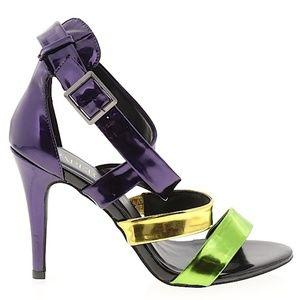 Paper Fox Purple Green Gold Heel Shoes Size 8